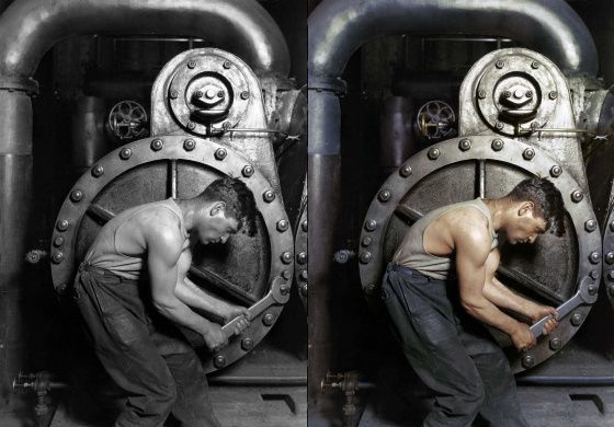 1920- mecánico en un central eléctrica Lewis Hine - Archivo Nacional de Estados Unidos