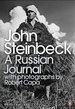 """portada en blanco y negro del libro de Steinbeck """"A Russian Journal"""""""